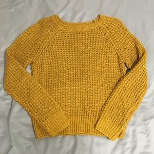 F21 Mustard cable knit sweater